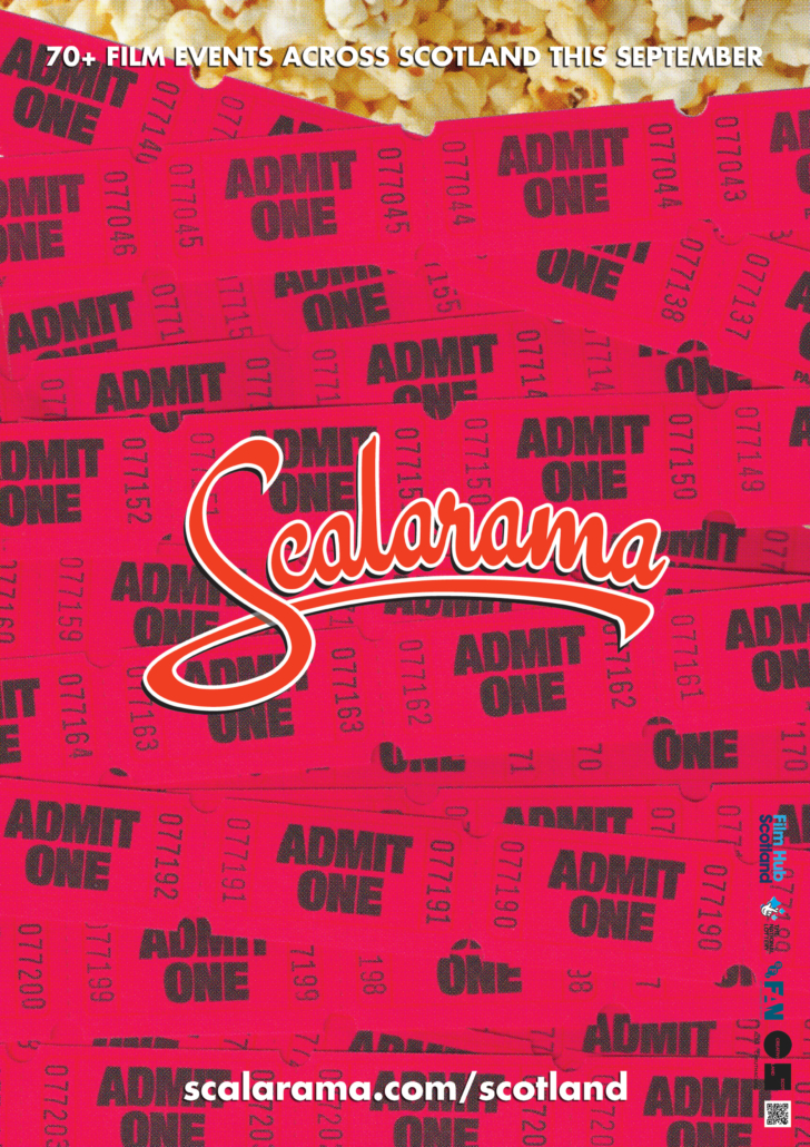 "Poster: pile of red, cinema-style ""Admit One"" tickets, overlain on popcorn, with the Scalarama logo superimposed on top"
