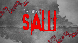"Grey background, with musical notation and red text ""Sing-along SAW"""